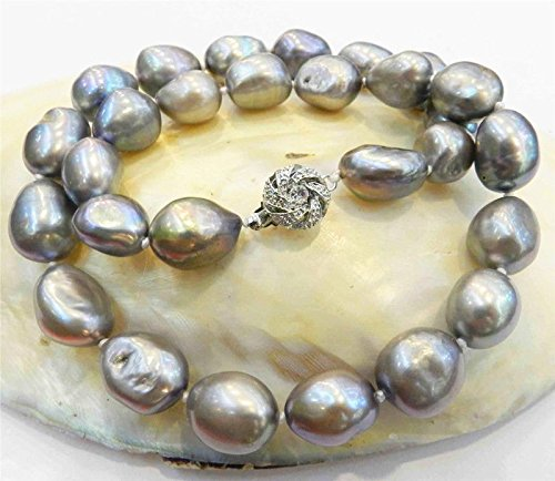 REAL HUGE AAA 9-10MM SOUTH SEA GRAY NATURAL BAROQUE PEARL NECKLACE 18'' - Gray Baroque Pearl