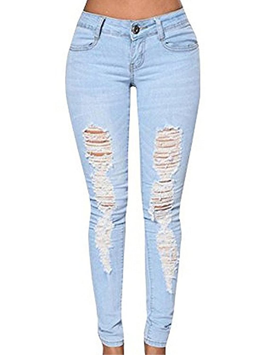 Gooket Women's Stretch Jeans Destroy Skinny Ripped Distressed Long Pants Blue Denim