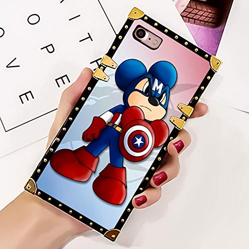 DISNEY COLLECTION Mickey Mouse Super Heroe Case for iPhone 7, iPhone 8 Luxury Square Edges Phone Cover Shock Bumper