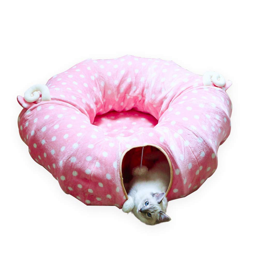 Pink circular Pink circular Cat Tunnel Toy Ring Paper Two Way Tunnel Can Accommodate Folding Cat Channel Smart Cat Toys Drill Bucket