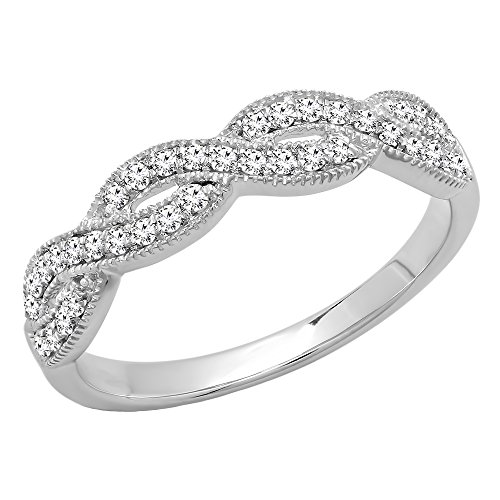 Dazzlingrock Collection 0.30 Carat (ctw) 14K Round Diamond Bridal Wedding Band Stackable Swirl Ring 1/3 CT, White Gold, Size 5