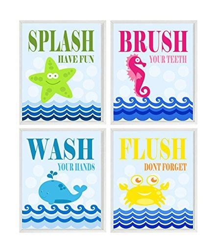 Kids Wall Art, Kids Bathroom, Sea Creature Bathroom, Beach Bathroom Decor,  Wash
