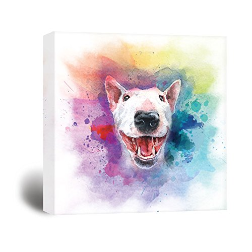 wall26 Square Dog Series Canvas Wall Art - A Bull Terrier Painting with Color Splash Background - Giclee Print Gallery Wrap Modern Home Decor Ready to Hang - 12x12 inches (Terrier Bull Art)