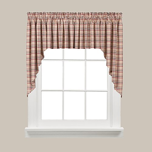 SKL Home by Saturday Knight Ltd.  Dexter Swag Valance Pair, Red, 57 inches x 35 inches