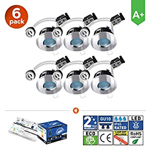 6X GU10 Bathroom IP65 Fixed Downlight Polished Chrome Brite-R LED Spotlight Recessed Ceiling Fitting Die-Cast Aluminium…