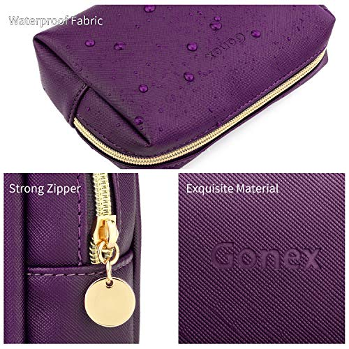 Gonex Small Makeup Bag for Purse PU Vegan Leather Travel Cosmetic Pouch Toiletry Bag for Women Girls Gifts Portable Water-Resistant Daily Storage Organzier Purple