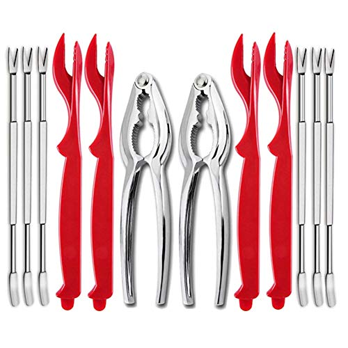 12Pcs Seafood Tools Crab Crackers Nut Cracker Forks Set Opener Shellfish Lobster Leg Sheller Knife Kitchen Accessories ()