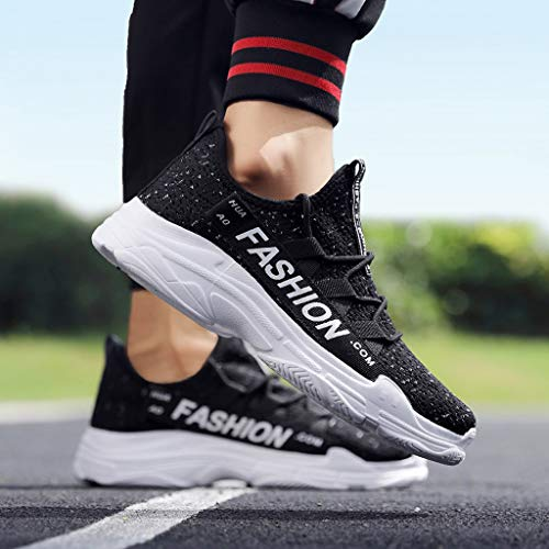 Men's Breathable Knit Sneakers - Stylish Athletic-Inspired Walking Shoes Outdoors Summer Running Trainning Tennis Shoe (Black, US:5.5) by Cealu (Image #6)