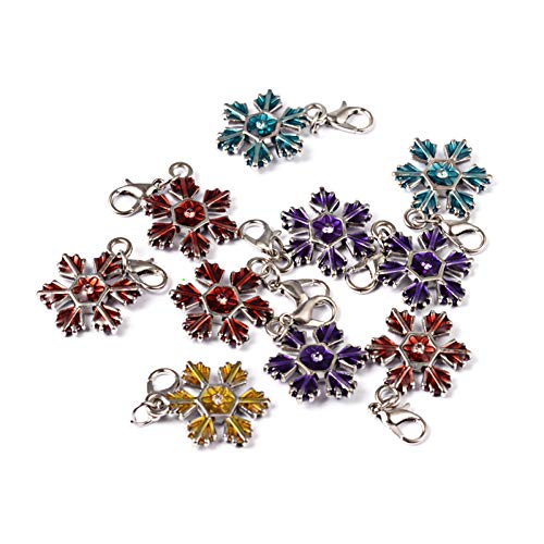 Craftdady 10Pcs Mixed Color Christmas Snowflake Alloy Enamel Charms 23x17mm DIY Jewelry Necklace Earring Bracelet Christmas Gifts Decoration Craft Making Hanging Pendants with Lobster Clasps