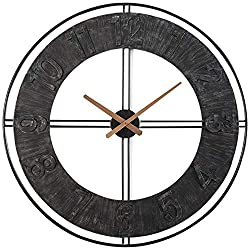 RiteSune Large Wall Clocks - Big Oversized Round Silent Battery Operated Metal Clock for Home, 30 inches