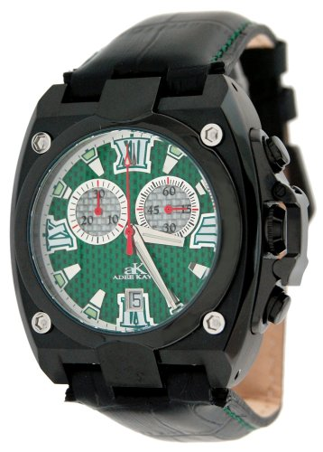 Adee Kaye Men's Black IP Chronograph Watch with Green Textured Dial #AK7982-M3