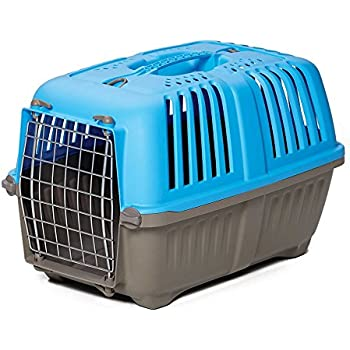 Pet Carrier: Hard-Sided Dog Carrier, Cat Carrier, Small Animal Carrier in Blue  Inside Dims 17.91L x 11.5W x 12H & Suitable for Tiny Dog Breeds   Perfect Dog Kennel Travel Carrier for Quick Trips