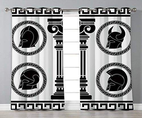 (Thermal Insulated Blackout Grommet Window Curtains,Toga Party,Patterned Circular Frames with Antique Helmets Spartan Military Costume,Black and White,2 Panel Set Window Drapes,for Living Room)