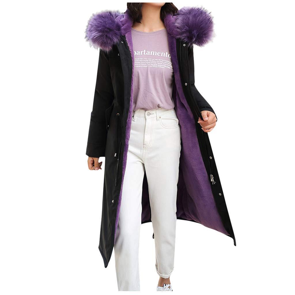 Allywit- Women Outerwear Faux Fur Hooded Button Coat with Pocket Long Solid Warm Jackets Windbreaker Coats Purple by Allywit- Women