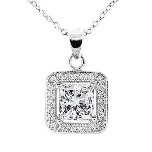 (Cate & Chloe Ivy 18k White Gold Plated Princess Cut Halo Pendant Necklace - Silver Halo Necklace w/Solitaire Square Cut Cubic Zirconia Diamond - Wedding Anniversary)