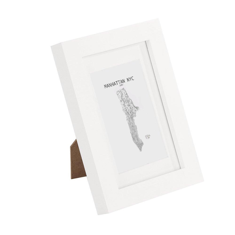 Classic by Casa Chic Cadre Photos en Bois massif - 10 x 15 cm - Noir - Bois de Pin MASSIF - Vitre en VERRE - Profil de Cadre 2 cm ! - Blanc product image