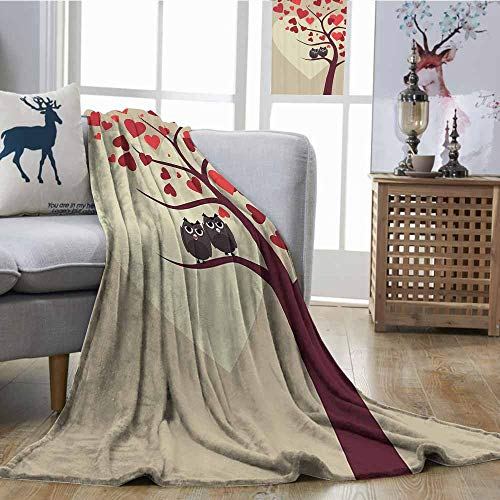 Zmcongz Warm Blanket Owls Home Decor Collection Owl Couples Sitting on Branch of Valentine Tree Valentines Day Anniversary Image Print Artwork W70 xL84 Red Burgundy ()
