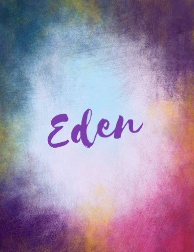 Eden: Eden journal blank book. Large 8.5 x 11 Attractive watercolor texture purple pink orange & blue tones. arty stylish pretty journal for gi