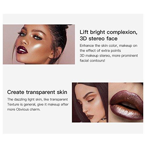 Face Glow Liquid Highlighter, InKach 12 Colors Shimmer Brighten Highlighter Make Up Concealer Cream (D)