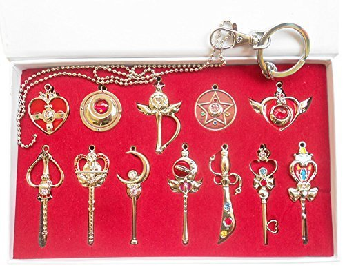 [Sailor Pretty Moon Guardian Keys Tsukino Usagi Cosplay Keychain Necklace Silver 12pcs] (Sailor Moon Costumes Kids)