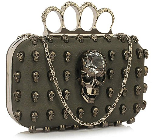 Handbag Design Club Skull Party 1 With Womens Chain Grey Bag Shoulder New Ladies For Unique Clutch Evening r66TqgI