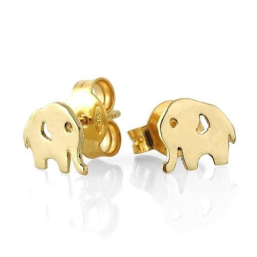Amazon 14k yellow gold elephant stud earrings post earrings 14k yellow gold elephant stud earrings post earrings for women elephant jewelry animal freerunsca Images