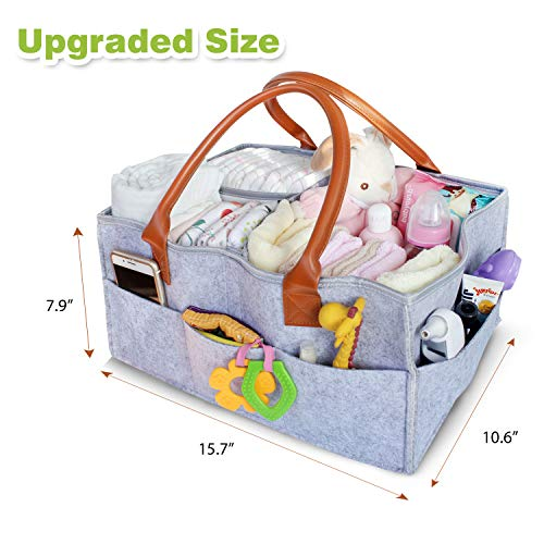 Baby Diaper Caddy Organizer Extra Large | Portable Nursery Diaper Tote Bag for Changing Table | Baby Shower Gift Basket| Baby Registry Must Haves - Diaper Garden Stacker