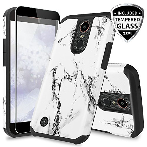 LG K20 Plus Case, LG K20 V Case, LG Harmony Case, LG Grace 4G LTE Case, TJS [Full Coverage Tempered Glass Screen Protector] Slim Hybrid Shockproof Impact Rugged Marble Case Armor Cover (White Full Cover Case)