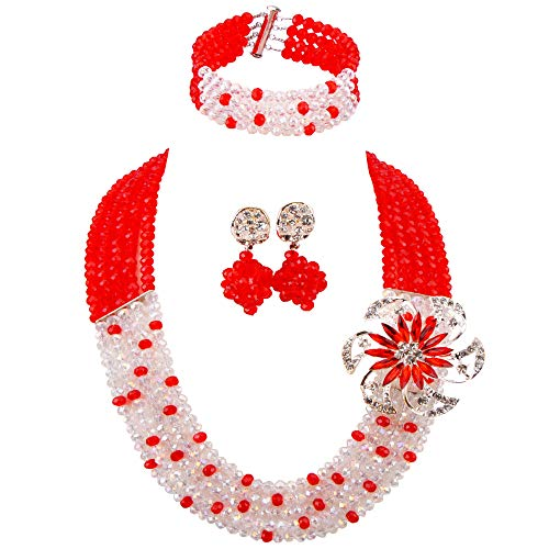 aczuv 5 Rows Royal Blue Yellow Women's Fashion African Beads Nigerian Necklace Bridal Wedding Jewelry Sets (Red Transparent) ()