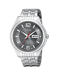 Gents Stainless Steel Pulsar Kinetic Day And Date Watch-PD2035X1