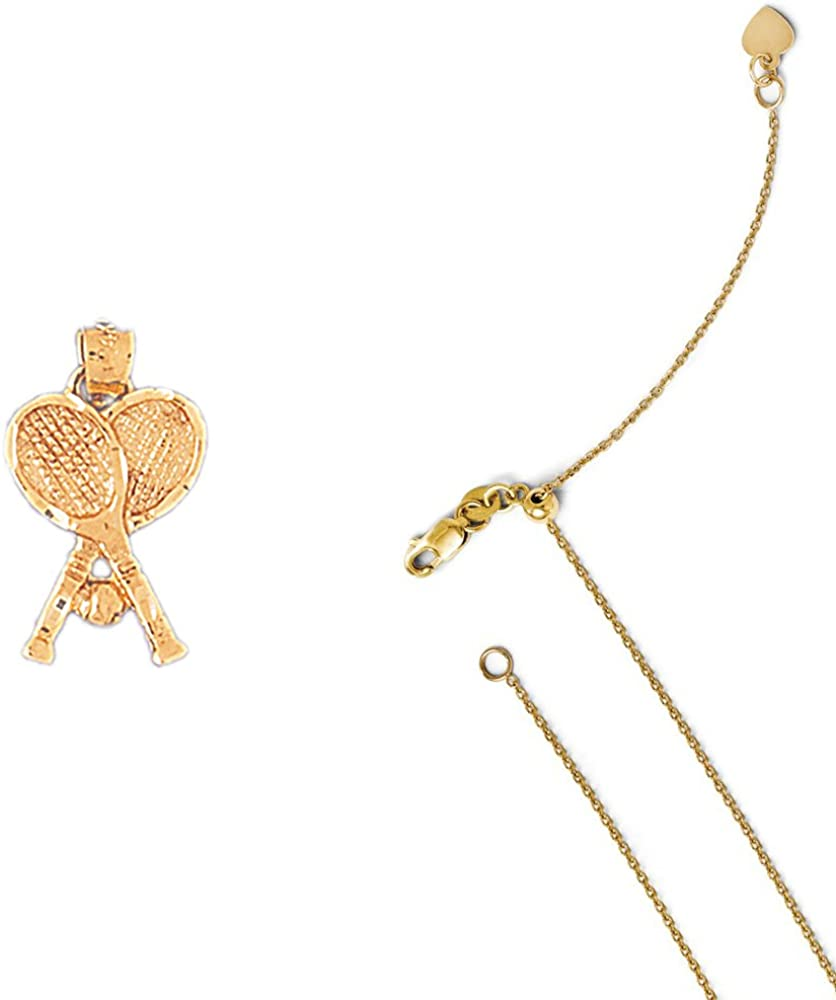 14K Yellow Gold Tennis Racquets Pendant on an Adjustable 14K Yellow Gold Chain Necklace