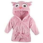 Hudson Baby Animal Plush Bathrobe, Pink Owl, 0-9 Months