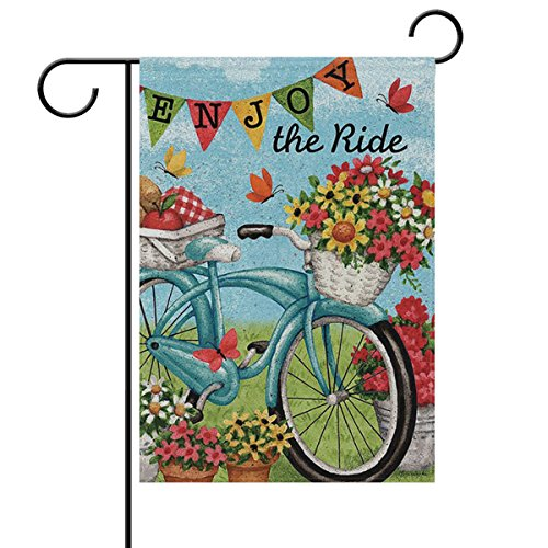 ALAZA Welcome Flowers Bicycle Butterfly Daisy Summer Spring Double Sided House Flag Garden Banner 28