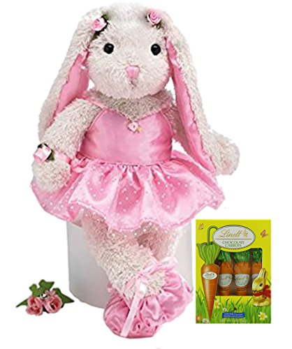 Easter Bunny Candy - Easter Gift Chocolate & Toy Bundle: Adorable White Ballerina/Ballet Plush Bunny & Lindt Chocolate Carrots Set| Decorative Easter Bunny & Delicious Chocolate Carrots| Top Gifting Idea for Adults & Kids
