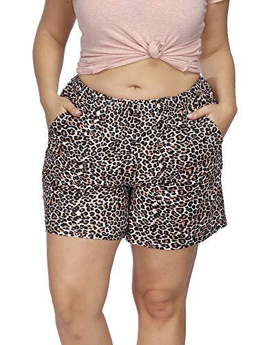 Allegrace Women's Plus Size Casual Leopard Print Pajama Shorts Pocket Short Sleep Pants Light Pink Leopard 2X