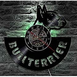 Home DCR Vinyl Black English Bull Terrier Head 12 LED Light 7 Colors Wall Clock, with LED One Size