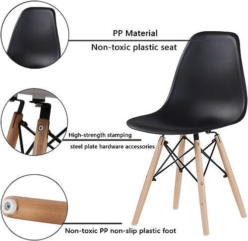 Conput Assembled Modern Minimalist Style Dining Chairs,Plastic Seat Wood Leg