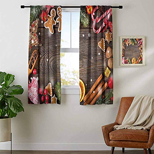 Mozenou Gingerbread Man, Curtains Panels, Festive Christmas Frame with Spices Biscuits Decorative Elements on Table, Curtains for Party Decoration, W96 x L72 Inch Multicolor