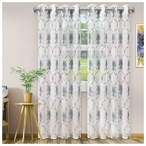 Superior Quality Lightweight Embroidered Elegant Scroll Sheer Stainless Grommets Window Treatment Curtain Panel (Set of 2) 52