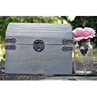 Wedding Card Box Chest Shabby Chic Weather GrayEngraved Personalized Front Holds Approximately 75+ cards
