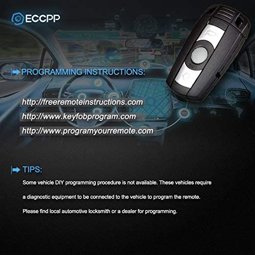 ECCPP 1X Uncut 3 Buttons Ignition Key Fob Replacement fit for BMW 128i 135i 325i 328i 335i 525i 528i 530i 535i 550i 650i M5 M6 X5 X6 KR55WK49123