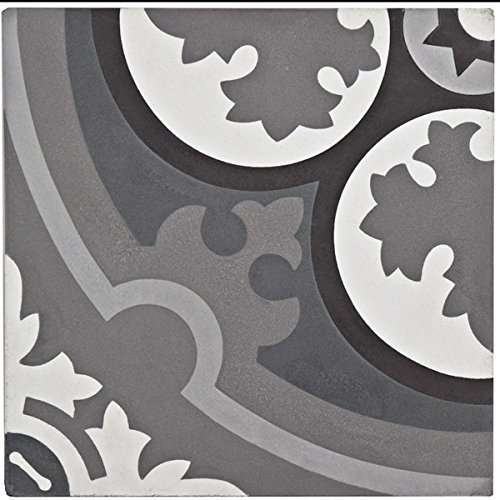free shipping SomerTile 7.875x7.875-inch Cement Queen Mary Storm Cement Floor and Wall Tile (12/Case, 5.5 sqft.) | first-quality porcelain tile for floor and wall use