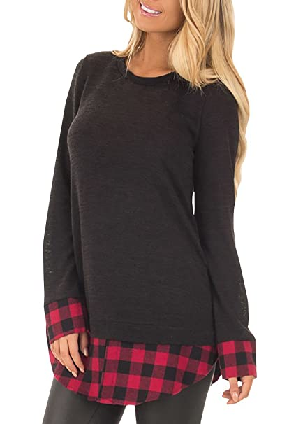 d217ec6e Gemijack Womens Tunic Tops Buffalo Plaid Casual Long Sleeve Loose Checkered  Shirt Sweatshirt