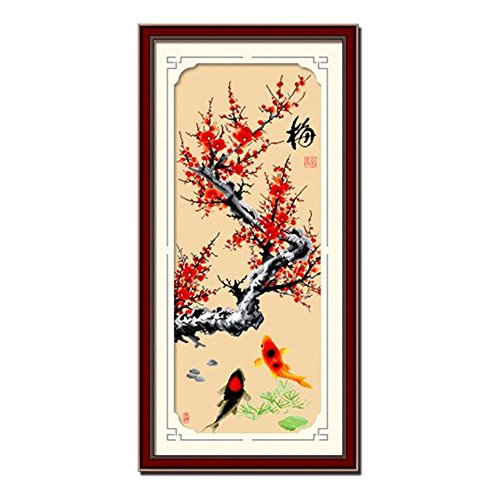 DOMEI Stamped Cross Stitch Kit, Red Plum Tree and Koi Fish, 18.1 x 41.3 inches