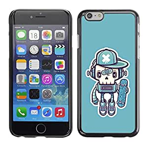 Soft Silicone Rubber Case Hard Cover Protective Accessory Compatible with Apple iPhone? 6 (4.7 Inch) - robot skate graffiti street art cap