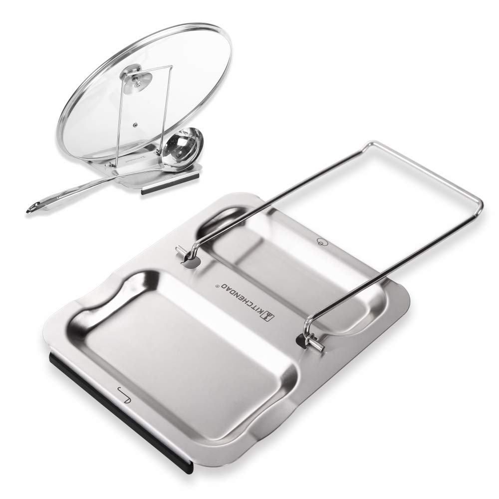 Lid and Spoon Rest - Foldable for Easy Storage| Anti-slip base丨Utensils Lid Holder with Food-grade 304 Stainless Steel| Prevents Splatters Drips | Easy to Clean by Kitchendao by KITCHENDAO