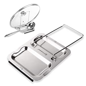 Lid and Spoon Rest - Foldable for Easy Storage| Anti-slip base丨Utensils Lid Holder with Food-grade 304 Stainless Steel| Prevents Splatters Drips | Easy to Clean by Kitchendao