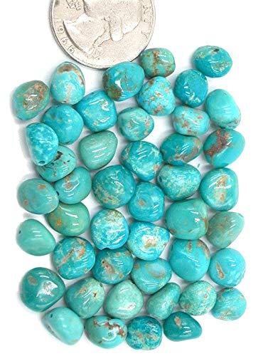 (Kingman Turquoise Chunky Long Drilled Potato Nugget Beads, (pkg of 3 Beads))