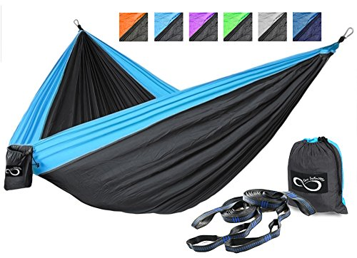 Double Camping Hammocks - Made From Strong and Lightweight Parachute Weather Resistant Nylon- Hammocks Include Stretch Resistant Tree Straps - Perfect for Travel or Hiking- Blue Outside