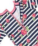RuffleButts Baby/Toddler Girls Rosy Floral Stripe